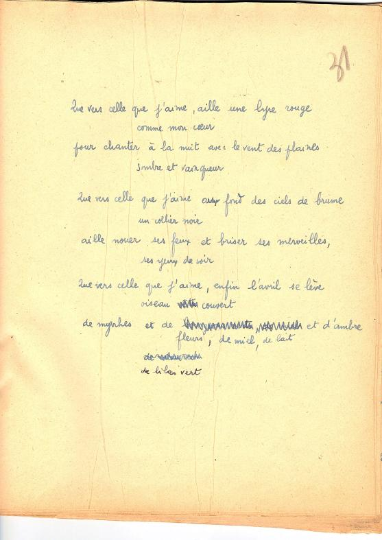 Manuscrit de Que vers celle que j'aime